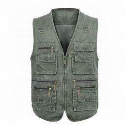 Wholesale Casual Loose Mens Vest - Wholesale- 7XL Men Blousons Sleeveless Cotton Jacket Multi Pocket V-neck Zipper Vest with Many Pockets Chalecos Hombre Sin Mangas Mens Vest