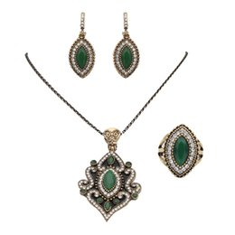 Wholesale Antique Jade Rings - Vintage Turkish Jewelry Sets Women Earring&Necklace&Ring Antique Gold Plated Colorful Crystal Floral Design India Wedding Bijoux
