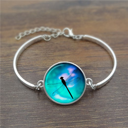 Wholesale Bangles Pictures - Wholesale- Dragonfly Picture Glass Cabochon Dome Charm Bracelet Creative Jewelry Silver Bangle Adjustable