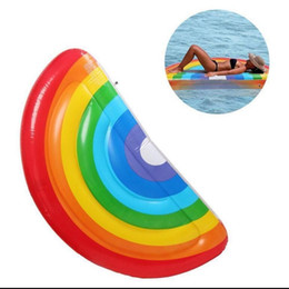 Wholesale inflatable pool raft - 177*89CM Pool Floats Giant Inflatable Swimming Pool Toys Rainbow Floating Row Ring Inflatable Pool Rafts Water toys KKA2146