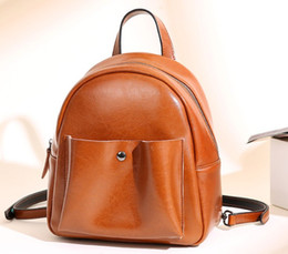 Wholesale Nice Black Leather Bags - New ladies leather backpack double belts traveling fashion bags outside open pockets thick stury soft cow leather nice prices