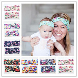 Wholesale Flower Heads For Hair Bows - DHL Fashion Women Flower Print Hair Headband Parent Child Elastic Head Bands Knot Bow Hair Accessories for Women Baby Girls Gifts