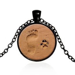 Wholesale Footprints Pendant - XS Beach Little Feet Pendant Alloy Dog Footprints Time Vintage Glass Diamond Necklace Pendant Jewelry Wholesale