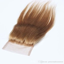 "Wholesale Honey Blonde Indian Remy Hair - Best Pure Honey Blonde Hair Straight Top Closures 3.5""x 4"" Lace Closure Cheap Blonde Straight Remy Hair Human Hair"