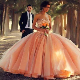 Wholesale Gold Peach Sequin Dress - Custom Made Peach Ball Gown Quinceanera Dresses Tulle Peals Crystals Zipper 2017 Arabic Bridal Gowns Sweet 16 Debutante Party Prom Dresses