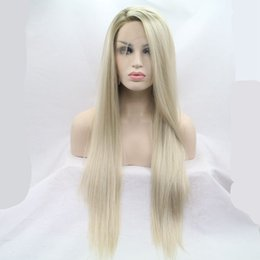 Wholesale Two Color Lace Front Wigs - Best selling new two tone brown blonde ombre straight synthetic lace front wig for women glueless hand tied heat resistant hair