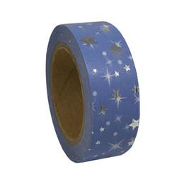 Wholesale Cute Washi Tape - Wholesale- 2016 Blue Stars Foil Washi Tape Scrapbooking Tools Kawaii For Photo Album Cute Paper Crafts Washi Paper Adhesive Adhesive Foil