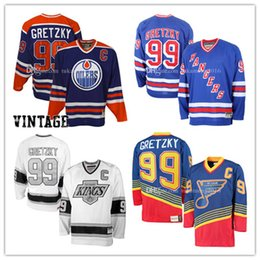 Wholesale Orange Ice Hockey Jerseys - 99# Wayne Gretzky Edmonton Oilers Hockey Jersey St. Louis Blues Los Angeles Kings New York Rangers NHL Jerseys Embroidery And 100% Stitche