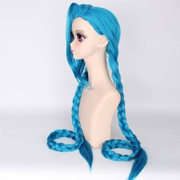 Wholesale Long Hair Wig For Men - ostumes Accessories Cosplay Costumes Coshome LOL Jinx Cosplay Wigs Women Blue Double Ponytail Braids Girls Long Hair 120cm For Halloween ...