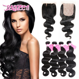 Wholesale Wholesale Silk Base Closure Extensions - Brazilian Unprocessed Human Hair Silk Base Closure With 4Pcs Bundles Free Part Silk Closure Natural Color Beauty Hair Extensions