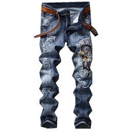 Wholesale Eagle Embroidered Patches - Fashion Mens Jeans Slim Fit Embroidered Eagles Men Patch Denim Pants Male Brand Designer Ripped Hole Jeans Trousers