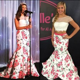 Wholesale Print Homecoming Dresses - Floral Printed Two Piece Mermaid Prom Dress 2017 2PC Lace Taffeta Flowers Homecoming Skirt Pageant Gown