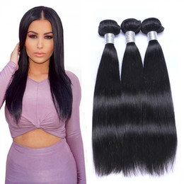 Wholesale Indian Remy Straight Wefts - Peruvian Human Remy Virgin Hair Straight Hair Weaves Unprocessed Hair Extensions Natural Color 100g bundle Double Wefts 3Bundles lot