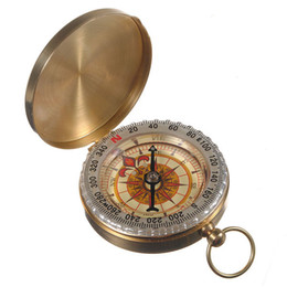 Wholesale Copper Compass - Fully Functional Night Luminous Outdoor Camping Hiking Compass Brass Survival Pocket Compass Vintage Antique Style Old Fashion Copper A385