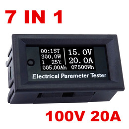 Nuevo llega el contador eléctrico de la corriente del voltaje de 7in1 OLED 100v / 20A Voltímetro de la capacidad de la temperatura del tiempo Probador de múltiples funciones del amperímetro desde fabricantes