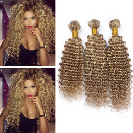 Wholesale Highlight Brown Hair - 8A Deep Wave Piano Hair 8 613 Mixed Human Hair Weaves Brown Blonde Highlight Deep Curly Ombre Human Hair Extensions