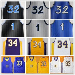 Wholesale Grey Tops - Top Quality 1 Penny Hardaway Jersey 32 Shaquille O'Neal Shaq Uniform 34 Shaquille O Neal College Basketball Jersey Black White Blue