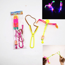 Wholesale Lead Shot Wholesale - LED Light Flash Flying Flash Rotating Flying Arrow Shoot Up Helicopter Helicopter Umbrella Kids Toy