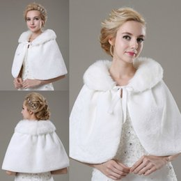 Wholesale Princess Protection - Princess Wedding Fur Wraps Free Shipping White Faux Fur For Bride Beads Warm Cold Protection Warehouse Bridal Shawls