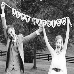 2019 новые фотографии автомобилей Оптовая продажа-только что женился гирлянда свадебный баннер автомобиля овсянка Западное место партия декор знак 2017 новое свадебное событие праздничные атрибуты фото стенд скидка новые фотографии автомобилей