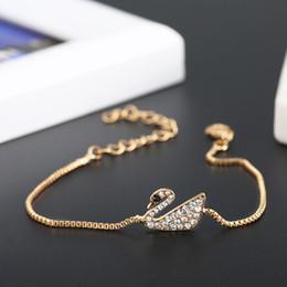 jóias finas coreanas Desconto Novo design Lindo Cisne Cristal Charme Pulseiras Coreano jóias com diamantes finos naturais de alta qualidade frete grátis