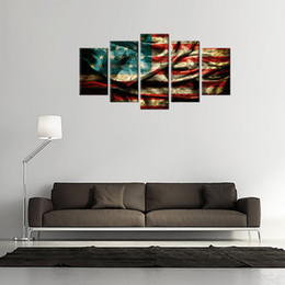 Wholesale American Flag Art - 5 Panles Retro American Flag Canvas Painting Wall Art Flag Paintings Printed on Canvas For Home Hotel Wall Decor Wooden Framed
