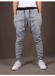 Wholesale Mens Dance Sweatpants - 2017 Mens Joggers Fashion Harem Pants Trousers Hip Hop Slim Fit Sweatpants Men for Jogging Dance Black Gray Wine Red sport pants M-2XL