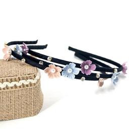 Fiore di prugna nera online-Buona A ++ Plum blossom pearl tessuto fascia nera capelli classica banda TG192 ordine della miscela 30 pezzi un sacco