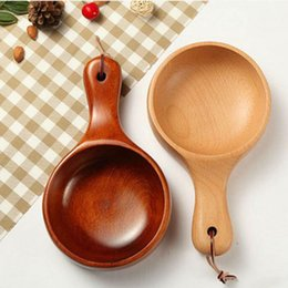 Wholesale Tool Solid Handle - Large Solid Wooden Fruit Salad Bowl Long Handle Kitchen Tools Sushi Noodle Bowl Wood Dish Soup Container ZA3004