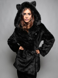 Wholesale Long Jacket Ears - Winter Womens Long Sleeve Faux Fur Jacket Hooded With Bear Ear Cute Thick Coat Outerwear Overcoat Parka