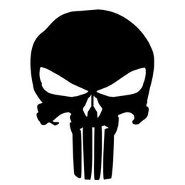 Wholesale Black Reflective Motorcycle Stickers - 9.5*14CM PUNISHER Skull Film Classic Car Stickers Motorcycle Decals Car Accessories