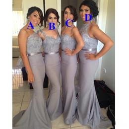 Vestidos convertibles más tamaño online-Cuatro Estilo Gris Convertible Vestidos de dama de honor Más tamaño Apliques de encaje de gasa con Sash Vestidos de fiesta largos baratos para boda DTJ