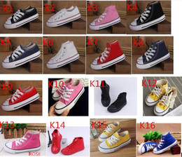 Wholesale Girl Canvas Sneakers - 15Color classic style All Size 24-34 Low high Style high Style Canvas Shoe Sneakers kids boys girls casual Shoes Casual Shoes