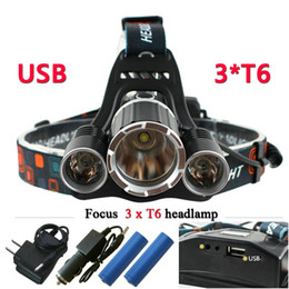 Wholesale Head Flashlight Waterproof - 3T6 USB 10000 lumens led headlamp headlight CREE XML T6 waterproof head Flashlight head light 18650 Rechargeable battery