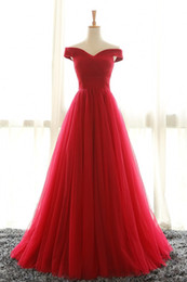 Wholesale Drape Shoulder Dresses - Cheap Off Shoulder Red Tulle Prom Party Dresses 2017 Sweep Train Pleated Plus Size Corset Formal Evening Gowns