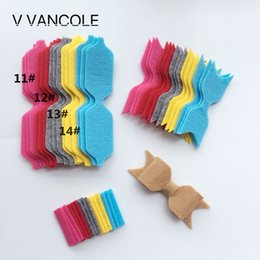 Wholesale Clipped Weave - 2017 NEW baby Diy Non-Woven Felt Fabric Cloth DIY felt bow headwear without Clip for accessories 14set lot
