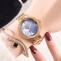 Wholesale Womens Watches Set - 2 sets womens watch & bracelet luxury brand dress Full Stainless Steel band diamond bezel casual quartz watches for ladies girls best gift