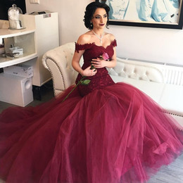 Wholesale Evening Dresses Red Wine - Wine Red Mermaid Prom Dresses 2017 Elegant Sweetheart Off Shoulder Lace Tulle Long Backless Royal Blue Evening Gowns Sweep Train