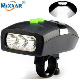 Wholesale Bike Horn Electronic - 3LED Bike Bicycle Light Universal White Front Head Light Cycling Lamp + Electronic Bell Horn Hooter Siren Waterproof Accessories