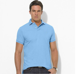Wholesale Wholesale Contrast Collar Polo Shirt - Men Branded Polo Shirt Short Sleeves Collar Solid Cotton Camisa Polos Homme Small Horse Embroidery Clothing Chemmise Famous Hombre Summer