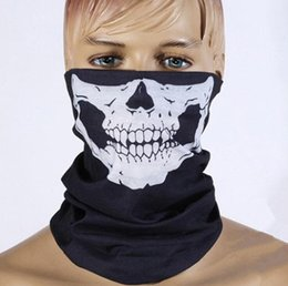 Wholesale Dhl Free Shipping Scarf - DHL Free shipping 500pcs Skull Design Multi Function Bandana Ski Sport Motorcycle Biker Scarf Face Masks Outdoor Facial Mask Black Color