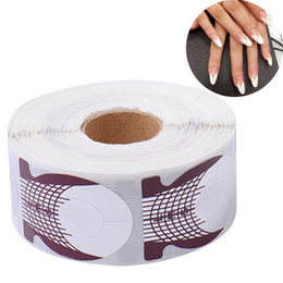 Wholesale Pro Nails Forms - Wholesale- 500pcs roll Fish Shaped Nail Art Extension Sticker Form Acrylic Pro Nail Polish Tip Roll DIY Tools Curve Gel Guide Stickers
