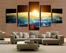 Wholesale Sunrise Wall Art Home Decor - 5 Panel Free shipping Hot Sell Sunrise Modern HD Art Painting Canvas Printed on High Quality Canvas,Home Wall Decor in custom sizes