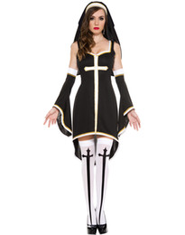 Wholesale Sexy Witch Costumes For Women - Sexy Nun Costume Adult Women Cosplay Dress With Black Hood For Halloween Sister Cosplay Party Costume Wholesale