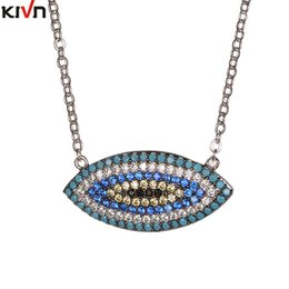 Wholesale Turkish Link Necklace - KIVN Fashion Jewelry Turkish Blue Evil eye Cubic Zirconia Womens Girls Wedding Bridal Pendant Necklaces Mothers Birthday Gifts