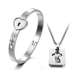 Wholesale lock key couple bracelet - 2017 Top Selling Heart Love Lock Bracelet with Lock Key Pendant Titanium Steel Bangle Necklace Couple Sets Gift JE001