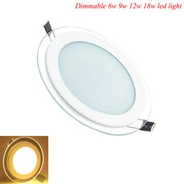 Wholesale Led Downlight Cover - Wholesale- Hot Sale LED Recessed Panel Light Dimmable SMD 5630 Celing Lamp Round Spot Lights Lamps LED Panel Downlight With Glass Cover