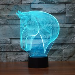 Wholesale Luces Led Navidad - Wholesale- 7Colors Changing Animal Luces Navidad Horse Led Nightlights 3D LED Desk Table Lamp USB Bedside Lamps Home Horse Decoration