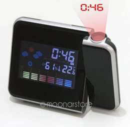 Wholesale Mechanical Alarm - Hot Projection Weather LCD Digital Alarm Clock Color LED Backlight Digital Weather Display Projector Snooze Alarm Hours Clocks
