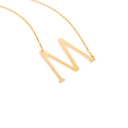 Wholesale Oversized Chain - Oversized initial Letters M~Z Alphabet Pendant Necklace For Women Men Gold Chain Fashion DIY Names Jewelry Graduation Gift